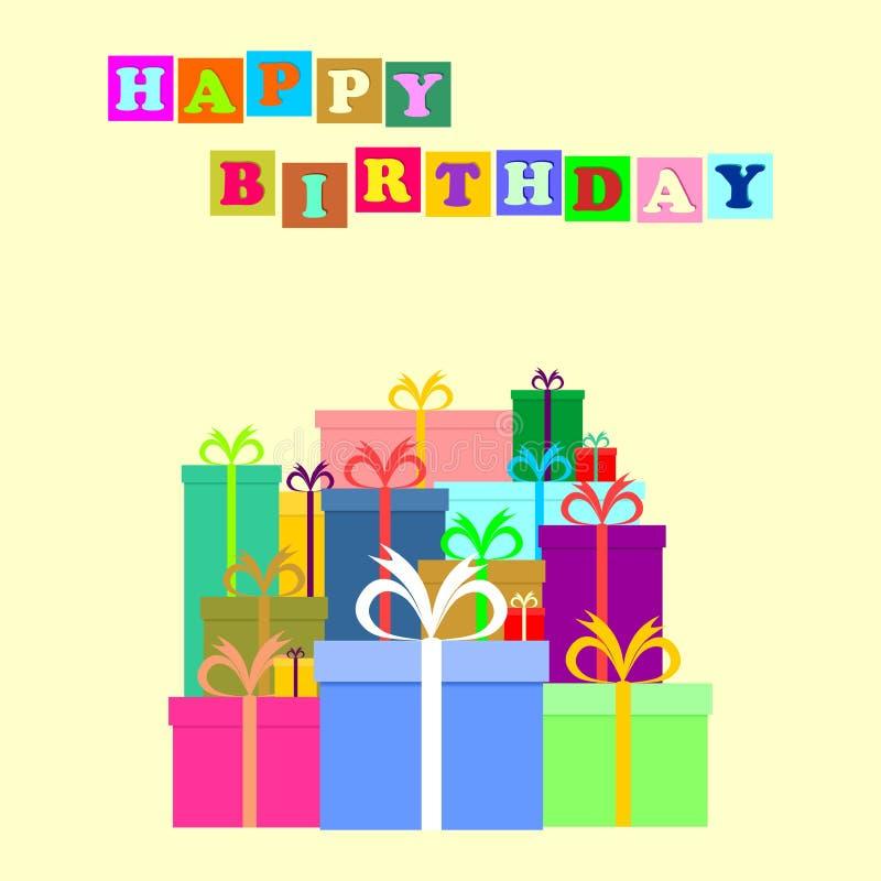 Saludo del cumpleaños con muchos pequeños regalos que dice feliz cumpleaños en cuadrados coloreados en un fondo amarillo ilustración del vector