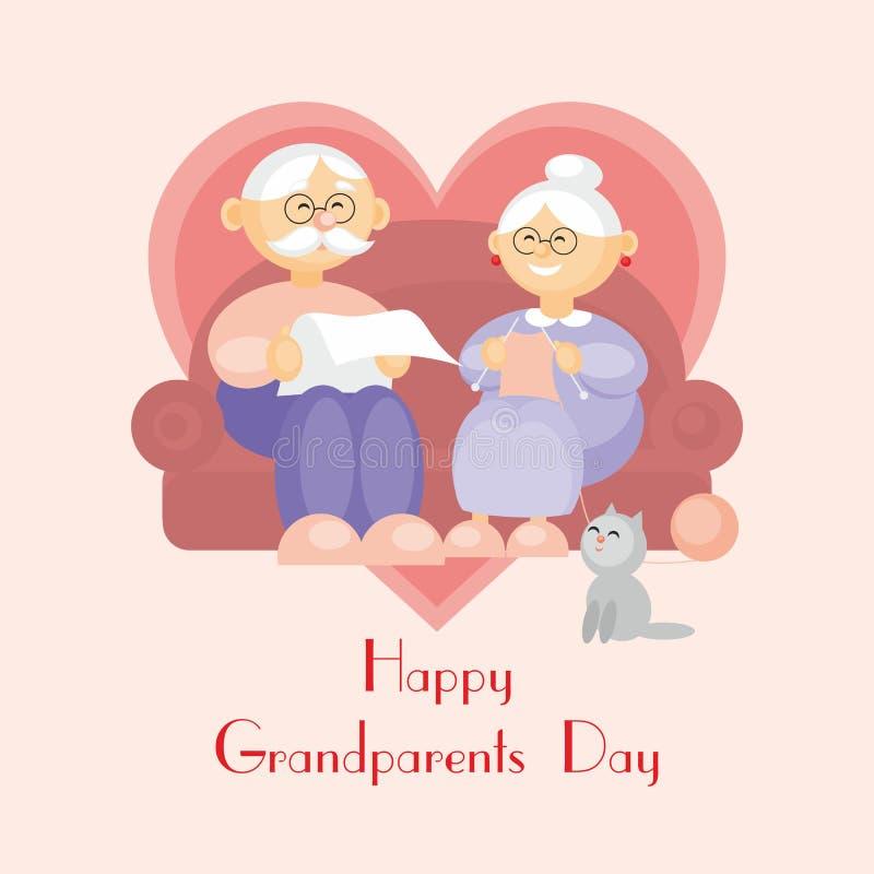 Saludo del día de los abuelos ilustración del vector