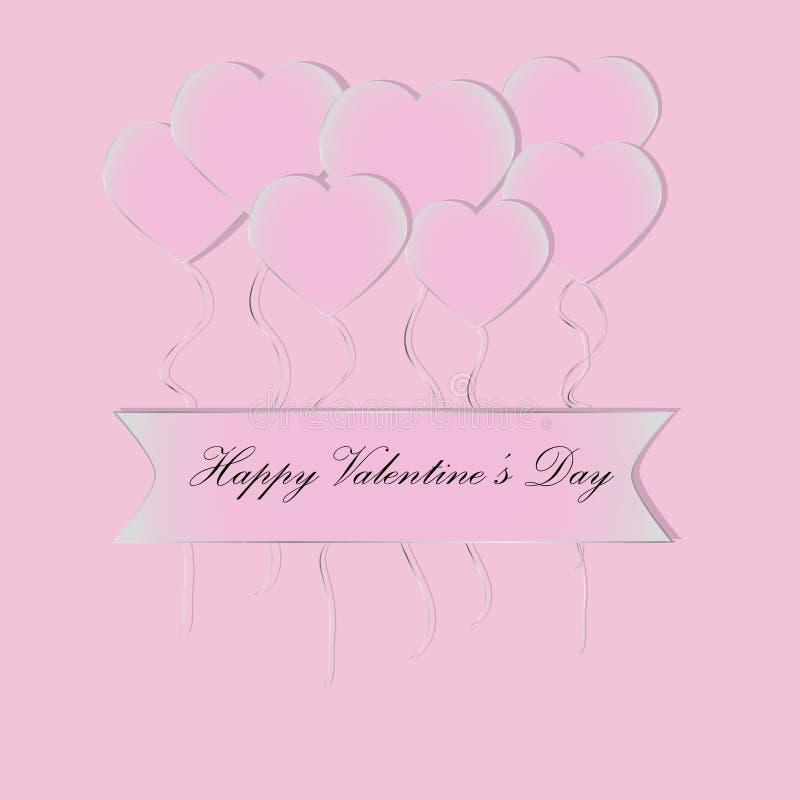 Saludo del día de tarjeta del día de San Valentín con los globos rosados resumidos de plata de los corazones y el texto negro en  stock de ilustración
