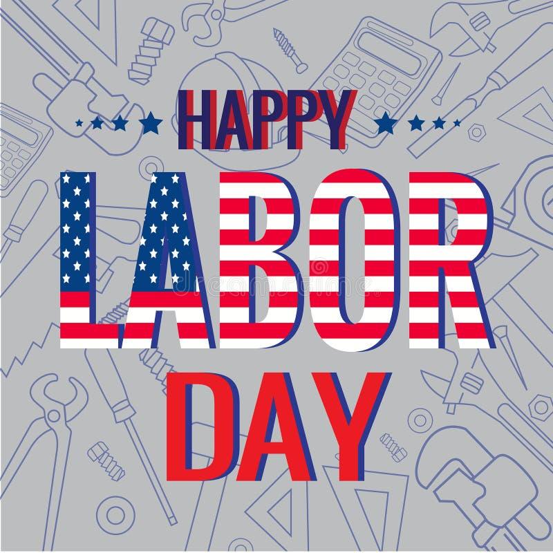 Saludo del Día del Trabajo de América ilustración del vector
