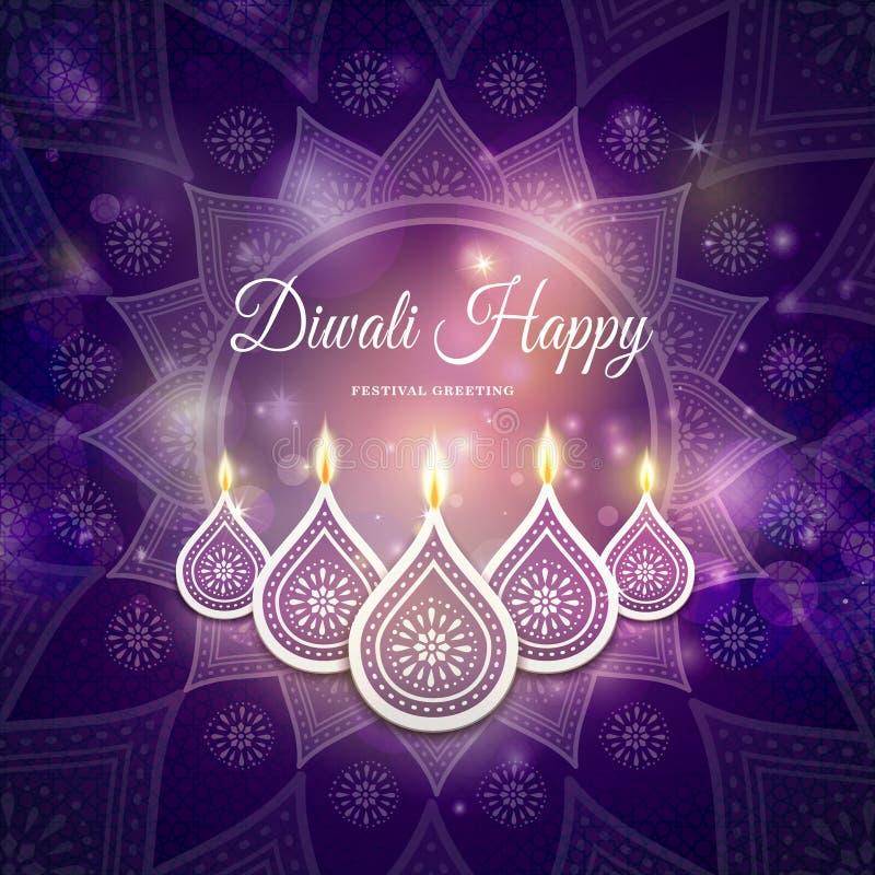 Saludo del festival de Diwali ilustración del vector