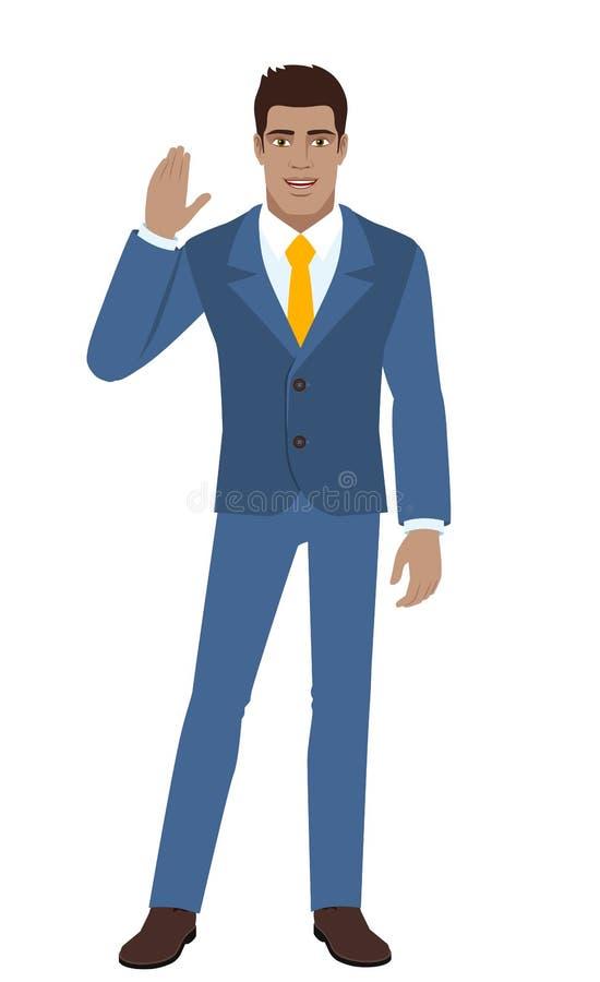 Download Saludo Del Hombre De Negocios Alguien Con Su Mano Aumentada Para Arriba Ilustración del Vector - Ilustración de humano, negocios: 100534993