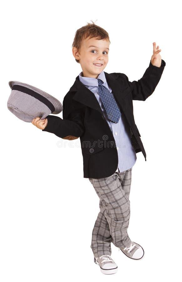 Saludo del niño pequeño bastante con estilo fresco foto de archivo