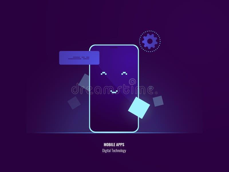 Saludo del teléfono móvil, cara feliz en la pantalla del smartphone, sonriendo, tecnología digital, vector plano de la aplicación libre illustration