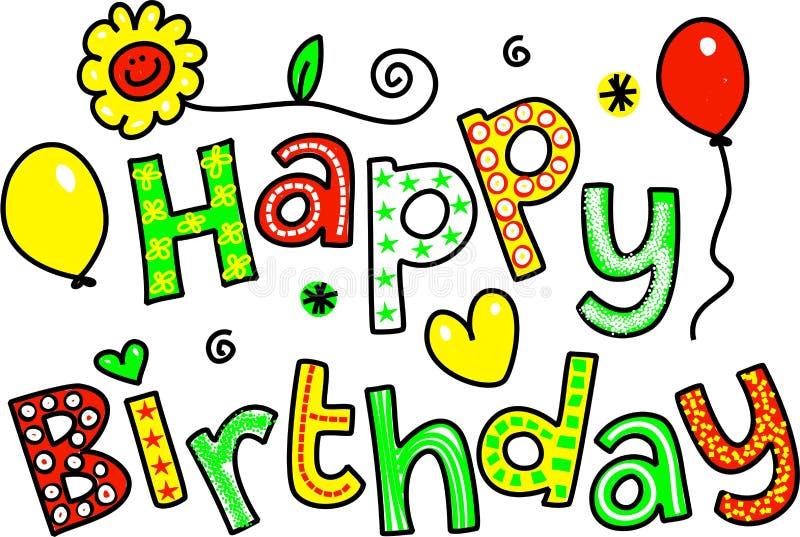 Saludo del texto del feliz cumpleaños ilustración del vector