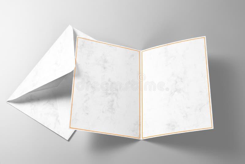 Saludo en blanco o tarjeta y sobre de la invitación imágenes de archivo libres de regalías