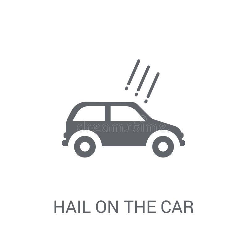 Saludo en el icono del coche Saludo de moda en el concepto del logotipo del coche en whi ilustración del vector
