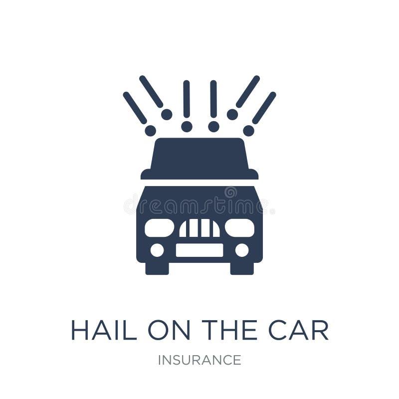 Saludo en el icono del coche Saludo plano de moda del vector en el icono del coche encendido stock de ilustración