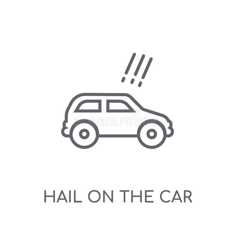 Saludo en el icono linear del coche Saludo moderno del esquema en el logotipo del coche stock de ilustración