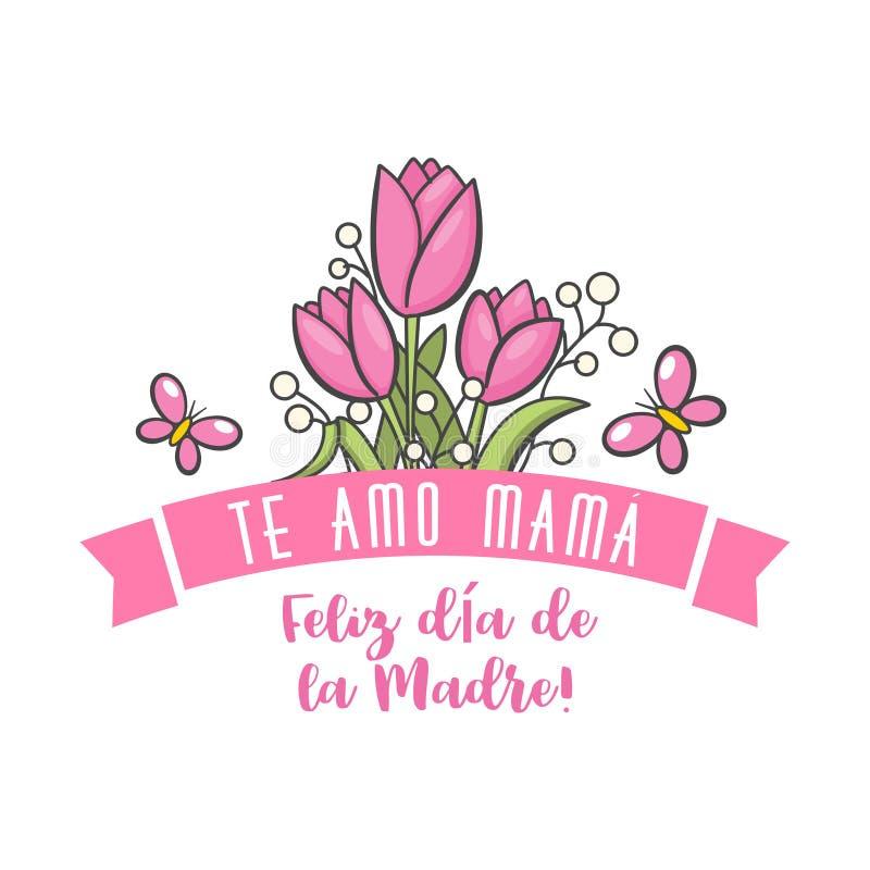 Saludo español del día de la madre stock de ilustración