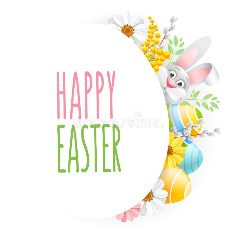 Saludo feliz de Pascua con los huevos, las flores y el conejito stock de ilustración