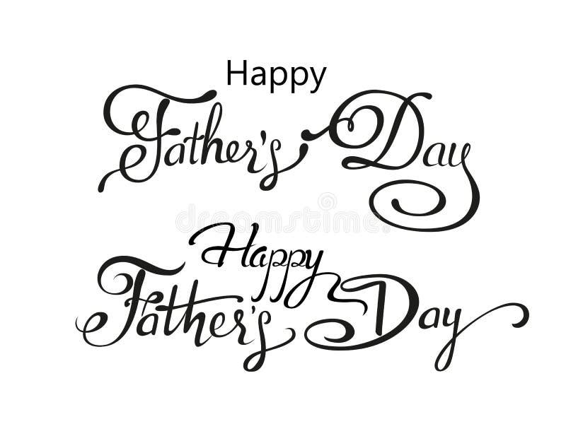 Saludo feliz del día de padres Tarjeta de letras Vector el fondo con las corbatas, la corbata de lazo y los vidrios del garabato imagenes de archivo
