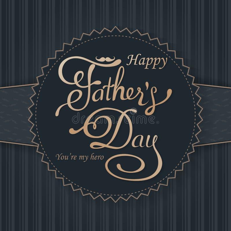 Saludo feliz del día de padres Tarjeta de letras Vector el fondo con las corbatas, la corbata de lazo y los vidrios del garabato foto de archivo libre de regalías