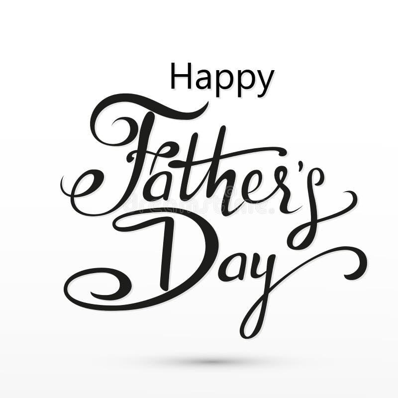Saludo feliz del día de padres Tarjeta de letras Vector el fondo con las corbatas, la corbata de lazo y los vidrios del garabato imagen de archivo