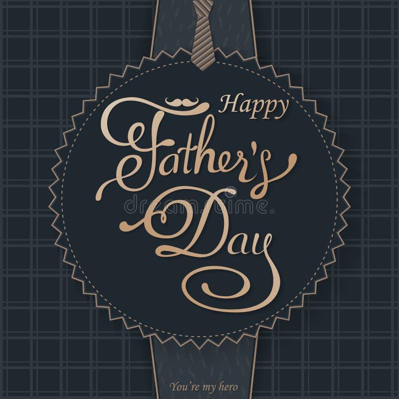Saludo feliz del día de padres Tarjeta de letras Vector el fondo con las corbatas, la corbata de lazo y los vidrios del garabato fotos de archivo