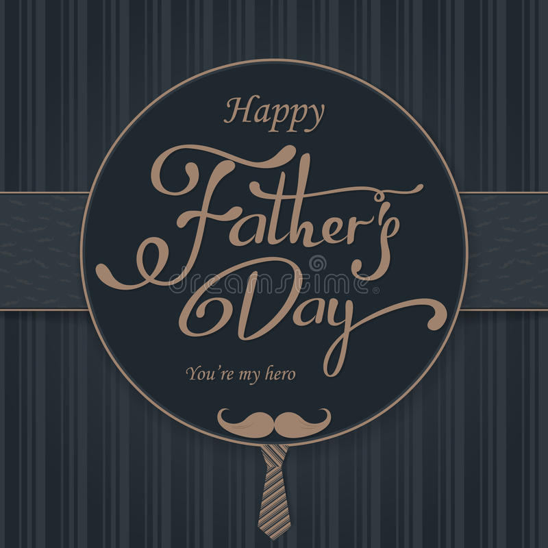 Saludo feliz del día de padres Tarjeta de letras Vector el fondo con las corbatas, la corbata de lazo y los vidrios del garabato fotografía de archivo libre de regalías