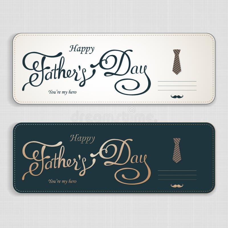 Saludo feliz del día de padres Tarjeta de letras Vector el fondo con las corbatas, la corbata de lazo y los vidrios del garabato fotografía de archivo