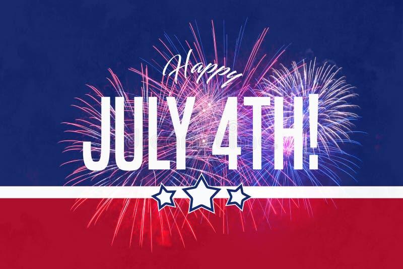 Saludo feliz del 4 de julio con el fondo rojo y azul stock de ilustración