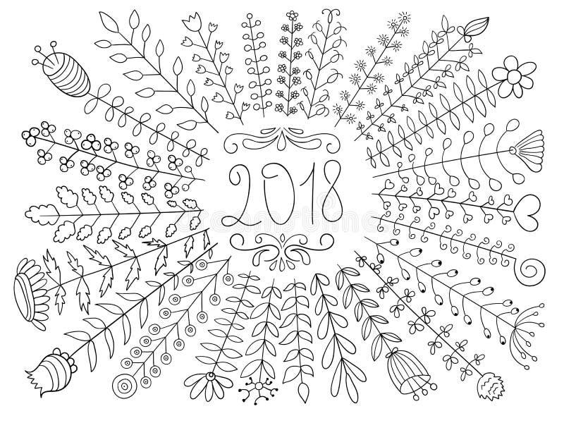 Saludo floral del vector 2018 libre illustration