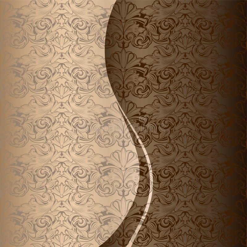 Saludo, invitación, boda, tarjeta en el estilo del vintage en el oro, chocolate, sombras de bronce stock de ilustración