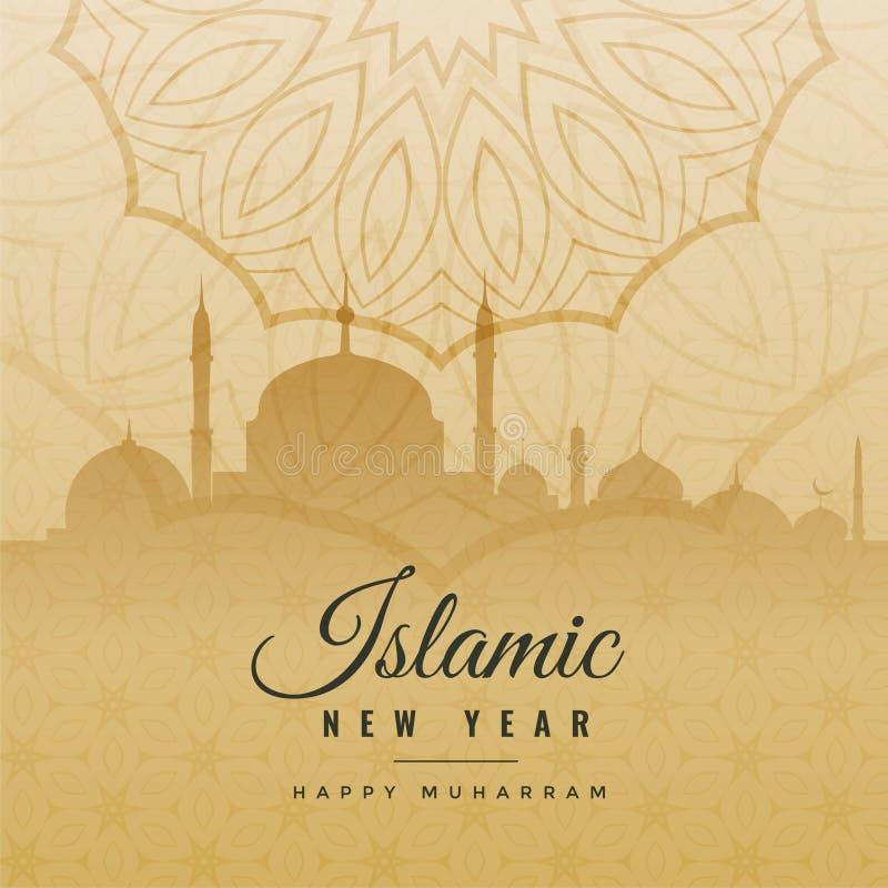 Saludo islámico del Año Nuevo en estilo del vintage stock de ilustración
