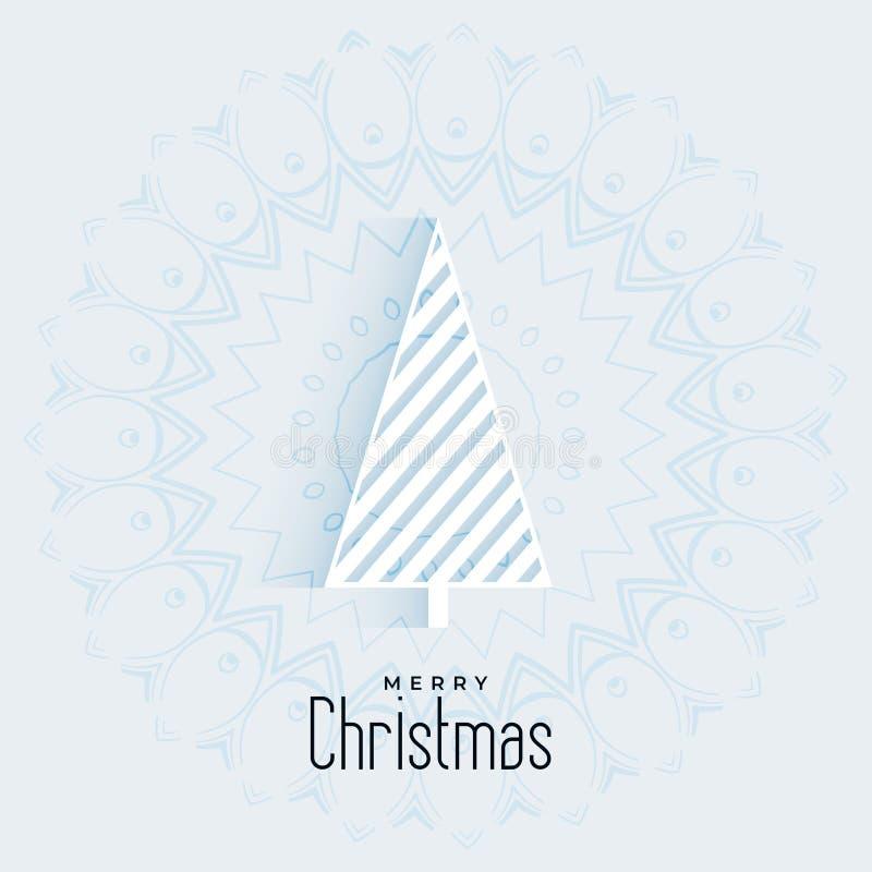 Saludo mínimo de la Navidad con diseño geométrico del árbol stock de ilustración
