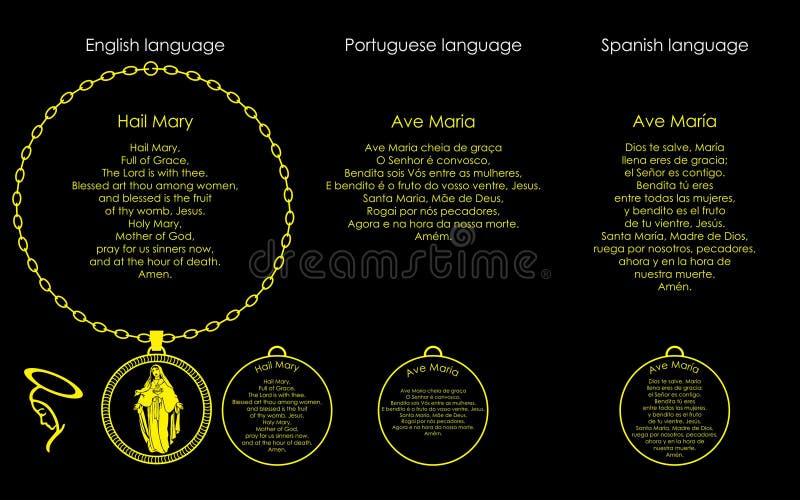 Saludo Maria del rezo libre illustration