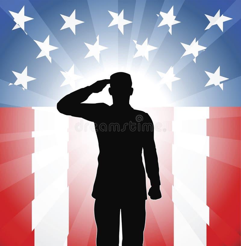 Saludo patriótico del soldado stock de ilustración
