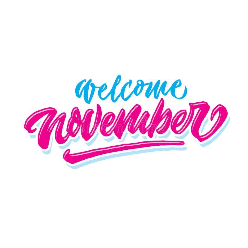 Saludo simple agradable de la tipografía de las letras de la mano de noviembre y cartel el dar la bienvenida fotografía de archivo libre de regalías