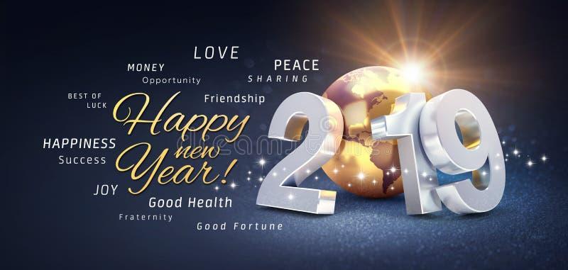 Saludos de la Feliz Año Nuevo, recuerdos y número de fecha 2019, compuestos con la tierra del planeta coloreada en oro, en un neg stock de ilustración