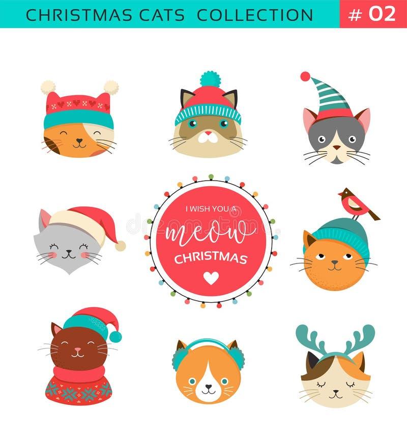 Saludos de la Feliz Navidad con los caracteres lindos de los gatos, collectionn del vector libre illustration