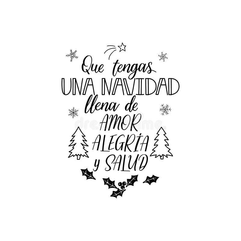 Saludos de la Navidad deletreado Texto español: Tenga una Navidad llena de amor, de alegría y de salud stock de ilustración