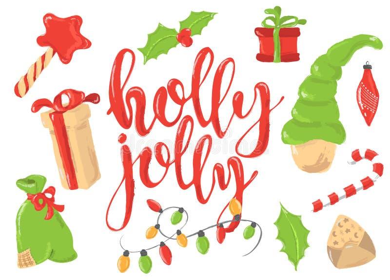 Saludos de la Navidad fijados con los elementos decorativos del invierno - guirnalda, árbol de pino, caja de regalo, poniendo let ilustración del vector