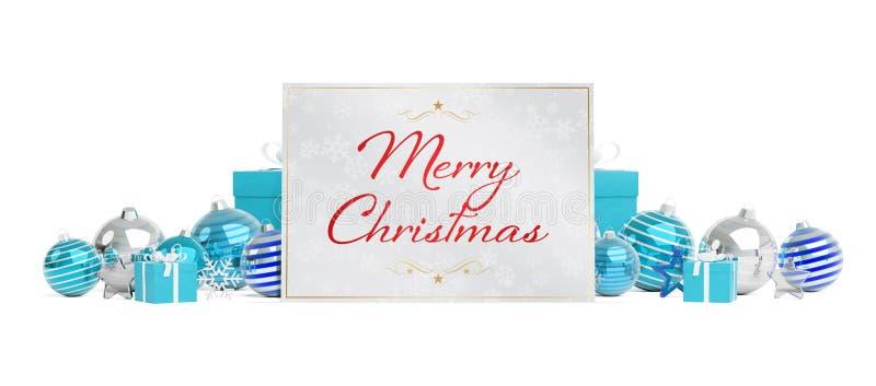 Saludos de la tarjeta de Navidad que ponen en las chucherías blancas azules aisladas 3 libre illustration