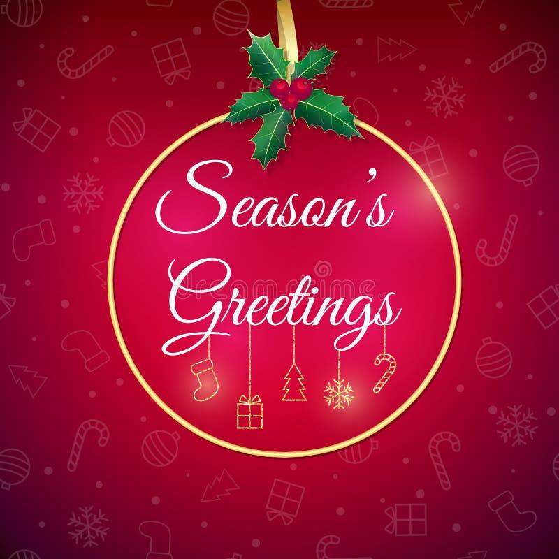 Saludos de las estaciones Fondo del día de fiesta Tarjeta de felicitación de Navidad con la chuchería cartel stock de ilustración