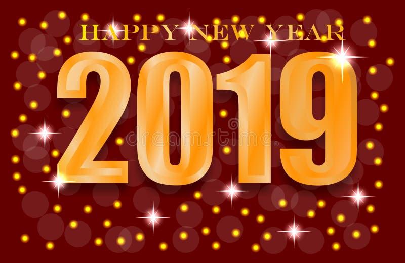 2019 saludos de Navidad de la Feliz Año Nuevo ilustración del vector