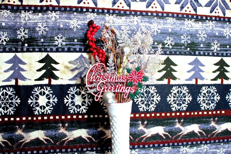 Saludos de Navidad que crecen con jarrón blanco fotografía de archivo