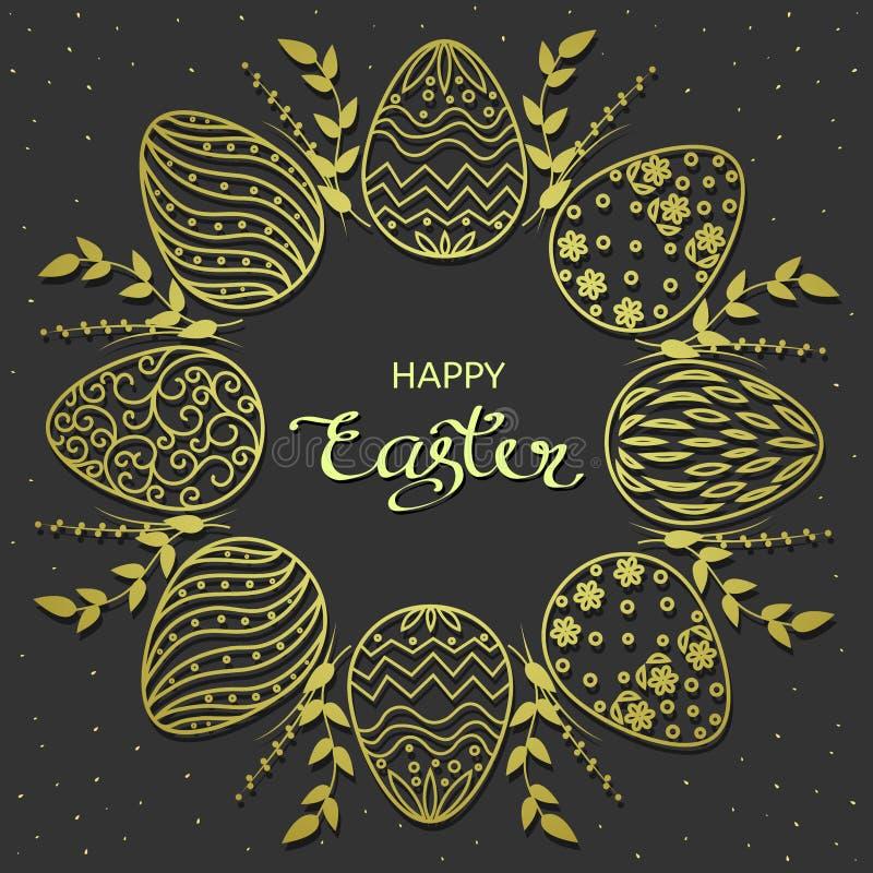 Saludos de Pascua Los huevos de oro enrruellan con el texto de las letras en fondo oscuro Ilustración del vector imagenes de archivo