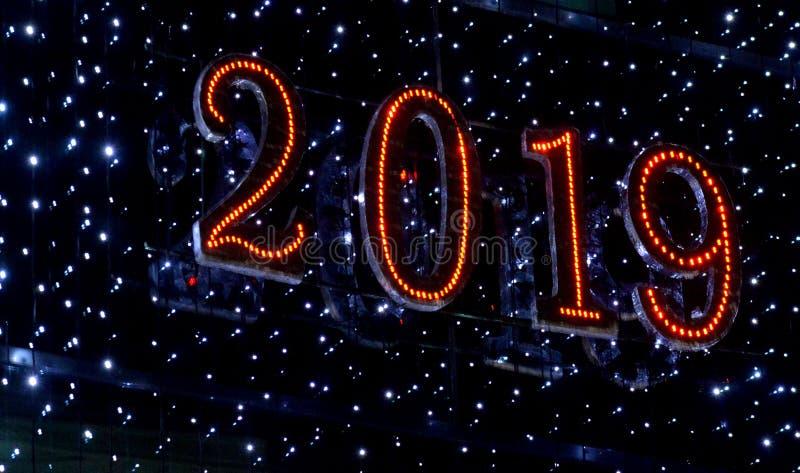 2019 saludos de una Feliz Año Nuevo imagenes de archivo