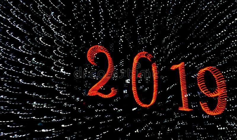 2019 saludos de una Feliz Año Nuevo imagen de archivo libre de regalías
