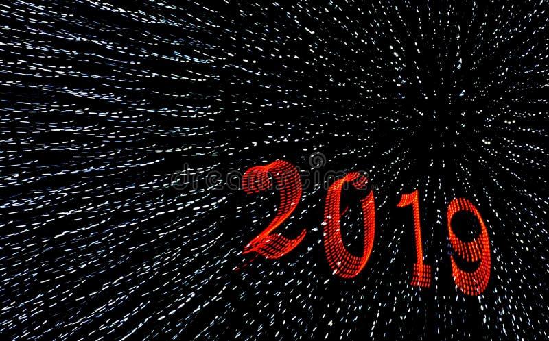 2019 saludos de una Feliz Año Nuevo fotografía de archivo libre de regalías