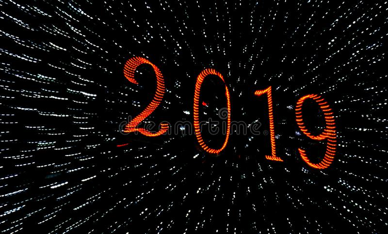 2019 saludos de una Feliz Año Nuevo fotos de archivo libres de regalías
