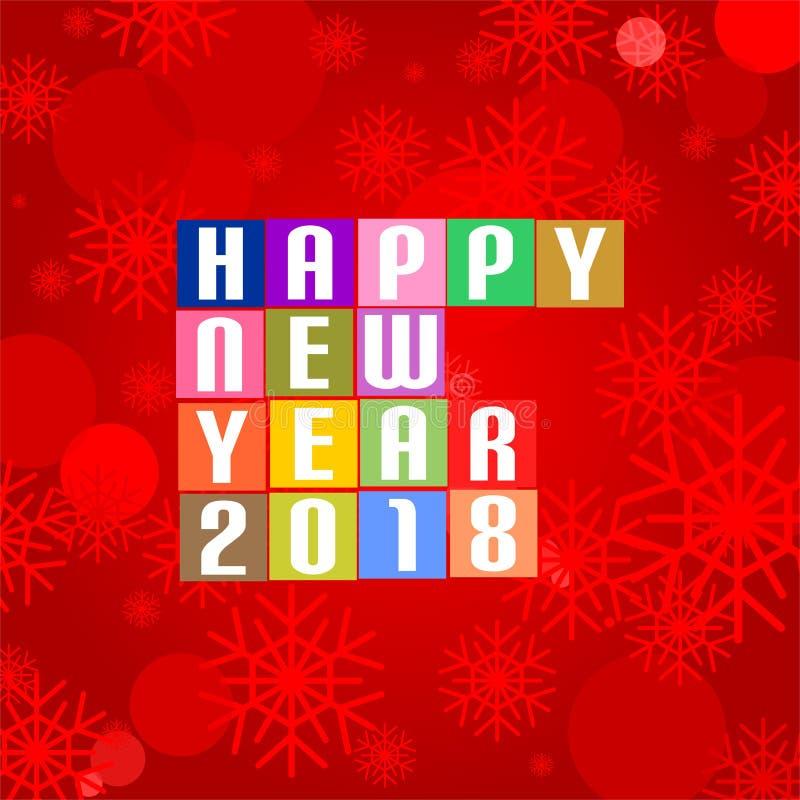 Saludos del Año Nuevo para 2018 con la Feliz Año Nuevo 2018 de las letras blancas en los cuadrados coloreados en el centro en un  ilustración del vector