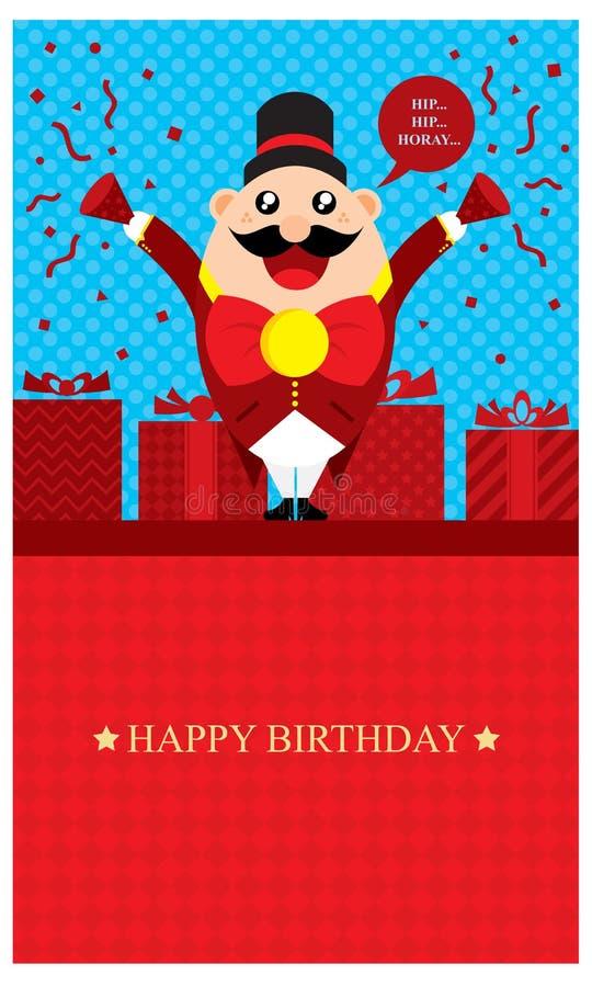 Saludos del cumpleaños con Ring Leader Circus ilustración del vector
