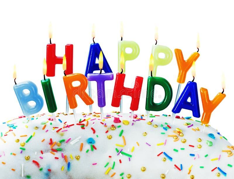 Saludos del cumpleaños de velas ardientes imágenes de archivo libres de regalías