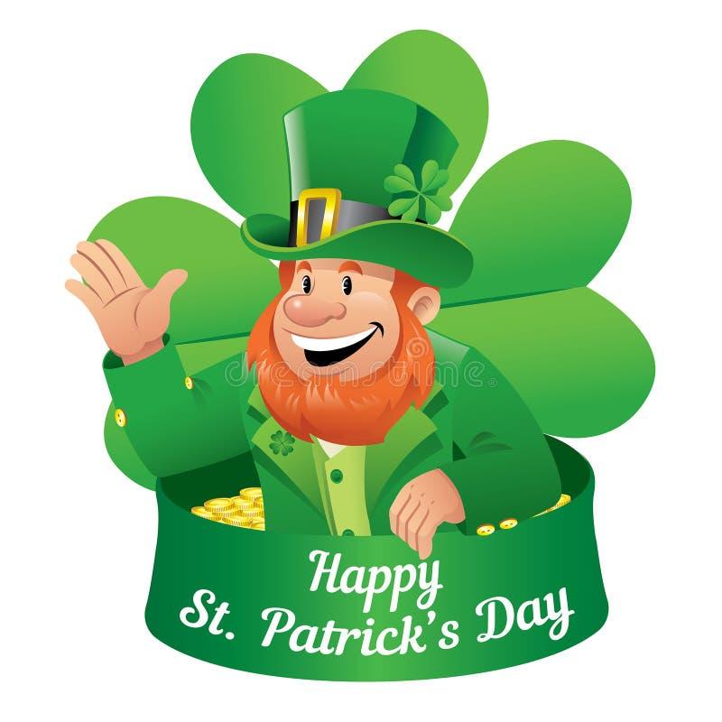 Saludos del duende el día de St Patrick stock de ilustración