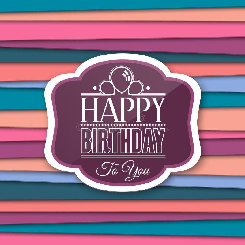Saludos del feliz cumpleaños con la etiqueta en fondo del color Vector ilustración del vector