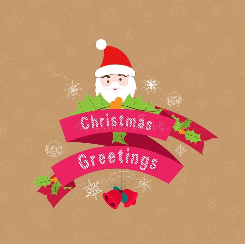 saludos hermosos del vintage de la Navidad del vintage ilustración del vector