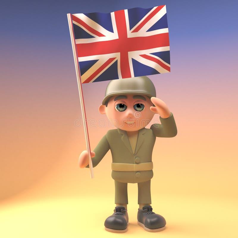 Saludos heroicos del soldado del ejército mientras que sostiene la bandera británica, ejemplo 3d stock de ilustración