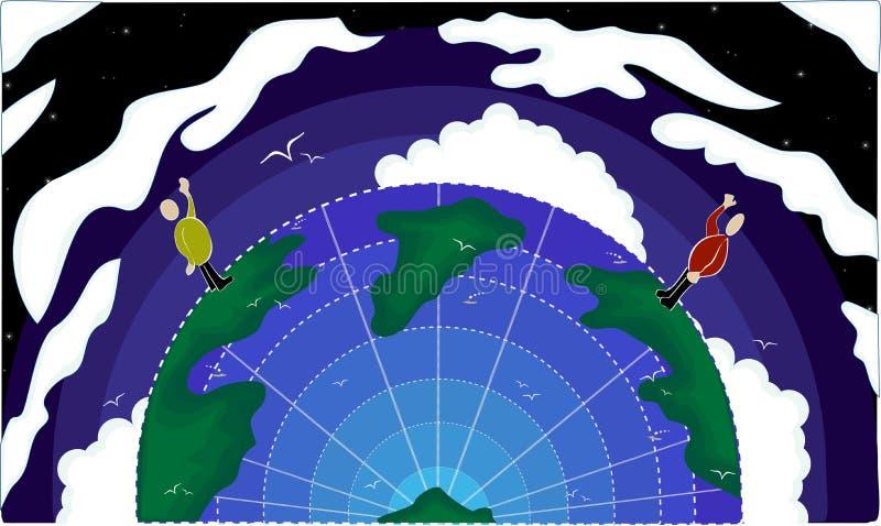 Saludos a través del mundo ilustración del vector